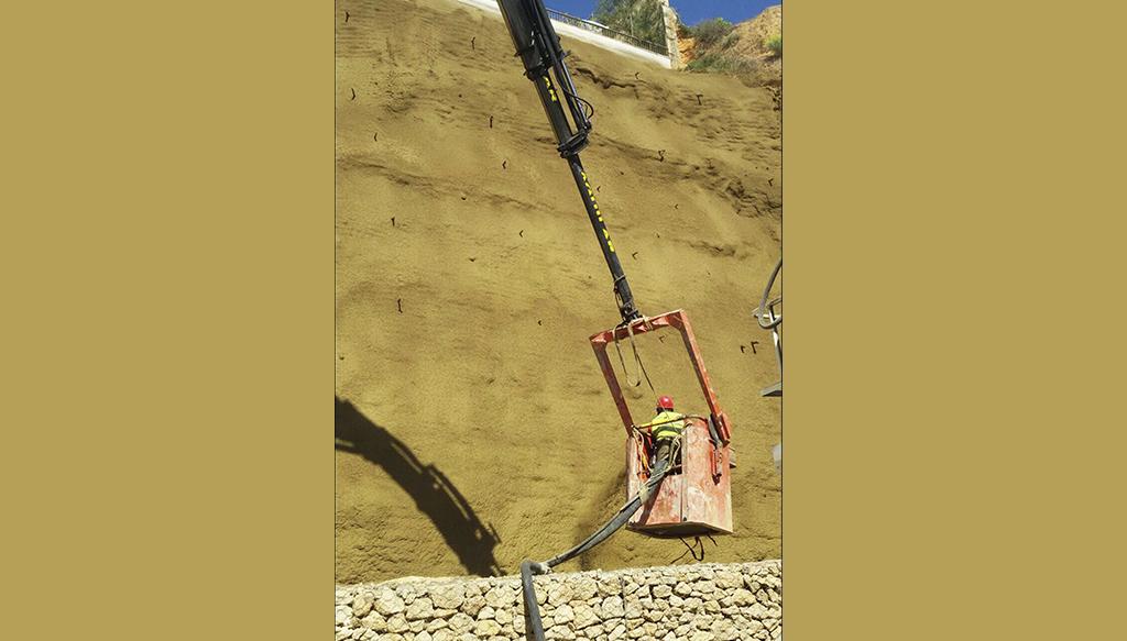 pigmentos para cemento, mortero y hormigón aplicado en un gunitado